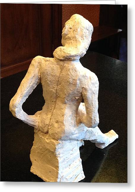 Seated Sculptures Greeting Cards - Contemplative Woman - Back View Greeting Card by Jennifer Chertow
