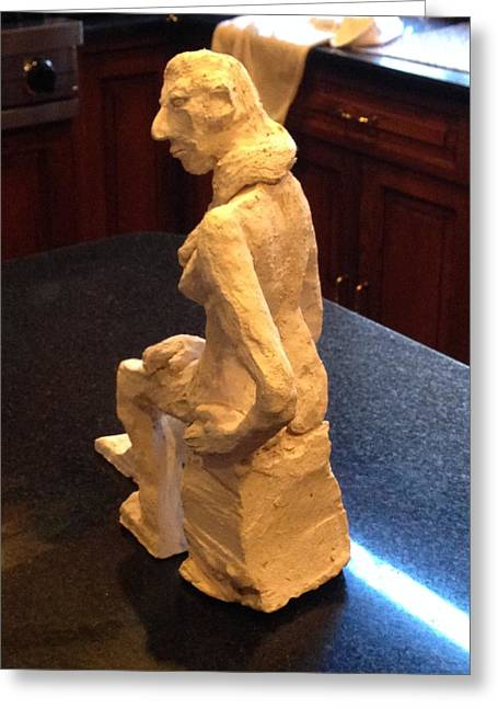 Feet Sculptures Greeting Cards - Contemplative Woman - Backside-Profile Greeting Card by Jennifer Chertow