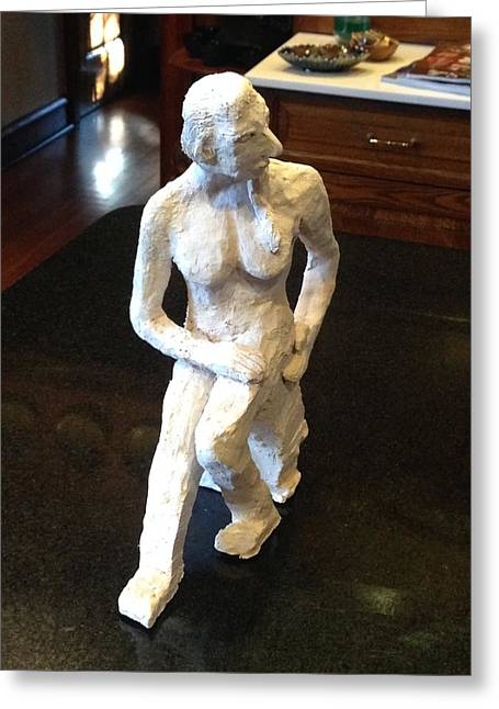 Feet Sculptures Greeting Cards - Contemplative Woman - Front-Profile View Greeting Card by Jennifer Chertow