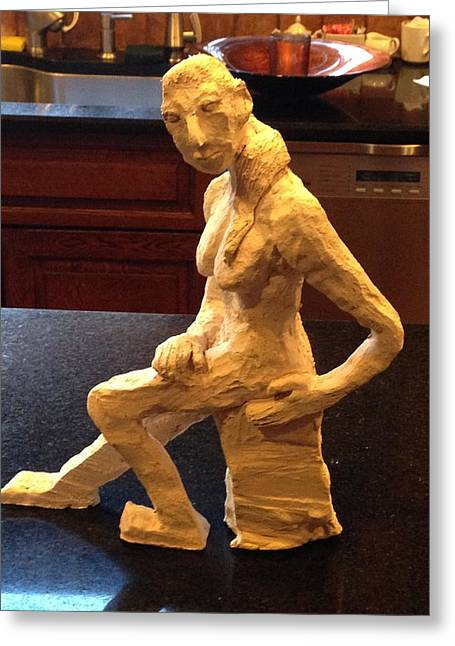 Feet Sculptures Greeting Cards - Contemplative Woman - Side View  Greeting Card by Jennifer Chertow