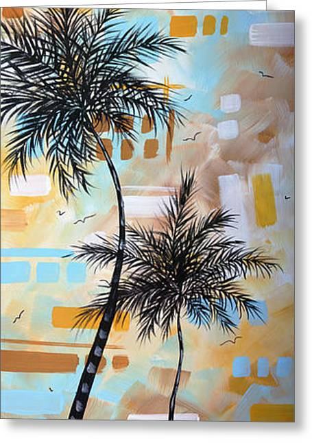 Contemporary Abstract Tropical Palm Tree Painting Colorful And Fun By Megan Duncanson Greeting Card by Megan Duncanson