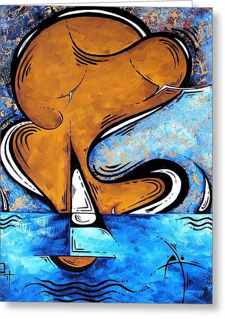 Best Sellers -  - Yellow Sailboats Greeting Cards - Contemporary Coastal Nautical Pop Art Original Sailboat Painting SAILING BEYOND by MADART Greeting Card by Megan Duncanson
