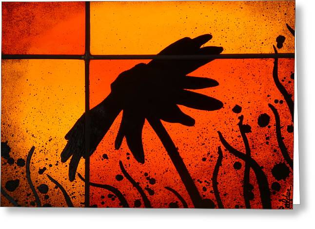Shadow Glass Art Greeting Cards - Contemporary Daisy Silhouette Greeting Card by Samantha  Calder