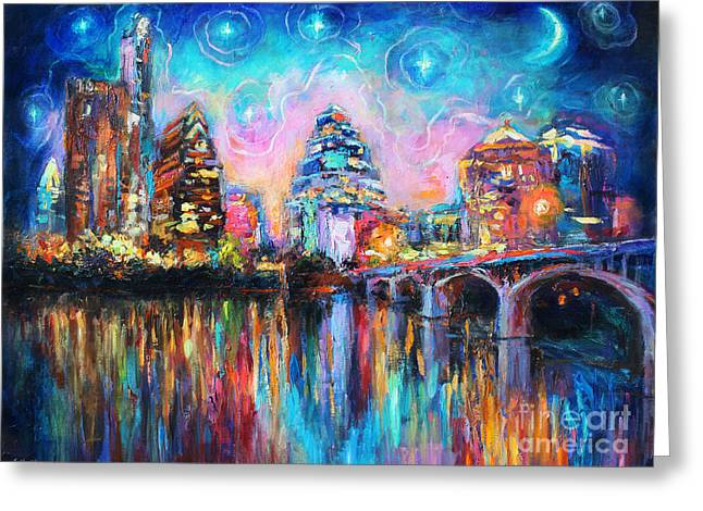 Birds Moon Greeting Cards - Contemporary Downtown Austin Art painting Night Skyline Cityscape painting Texas Greeting Card by Svetlana Novikova
