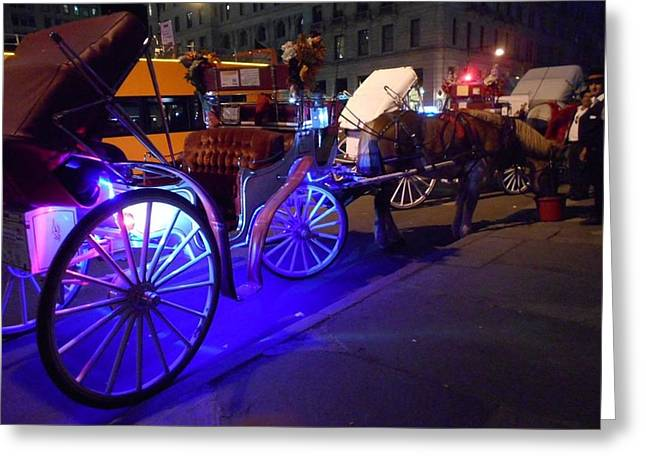 Hansom Cab Greeting Cards - Contemporary Horse and Carriage Greeting Card by Carolyn Quinn