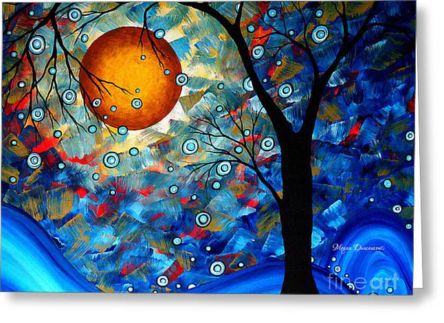 Uplifted Greeting Cards - Contemporary Modern Art Original Abstract Landscape Painting Blue Essence by Megan Duncanson Greeting Card by Megan Duncanson