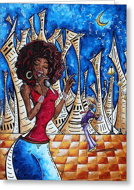 Contemporary New Orleans Jazz Blues Original Painting Singin In The Streets Greeting Card by Megan Duncanson