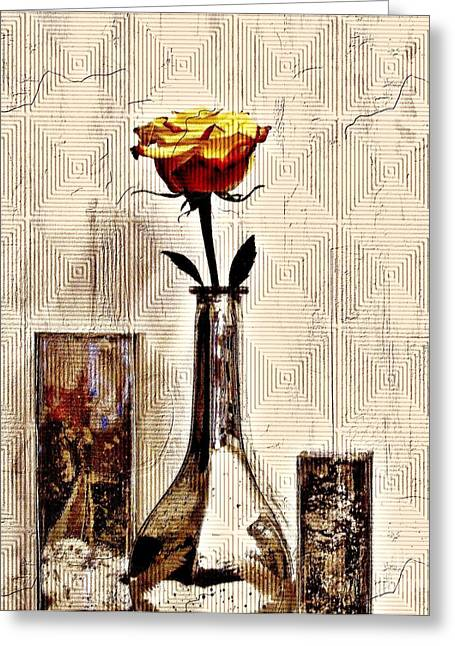 Glass Vase Greeting Cards - Contemporary Rose ll Greeting Card by Marsha Heiken