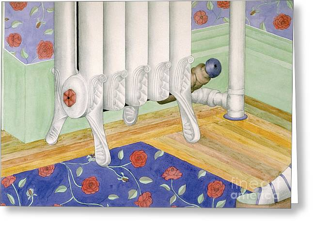 Interior Still Life Drawings Greeting Cards - contemporary still life painting - Radiator and Shoe Greeting Card by Sharon Hudson