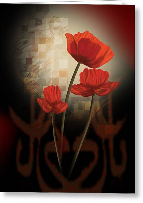 Art Gina Femrite Greeting Cards - contemporary still life Poppys a creation in red Greeting Card by Gina Femrite