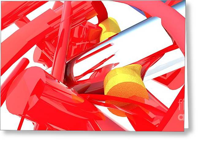 Red Art Greeting Cards - Contemporary Vector Art 1 Greeting Card by Corporate Art Task Force
