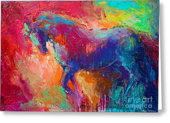 Red Abstracts Drawings Greeting Cards - Contemporary vibrant horse painting Greeting Card by Svetlana Novikova