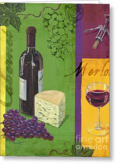 Wine Vineyard Paintings Greeting Cards - Contemporary Wine Collage I Greeting Card by Paul Brent