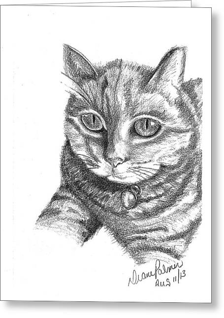 Pictures Of Cats Drawings Greeting Cards - Contented Cat Greeting Card by Diane Palmer