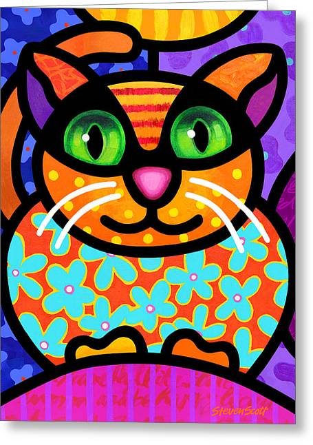 Calico Greeting Cards - Contented Cat Greeting Card by Steven Scott
