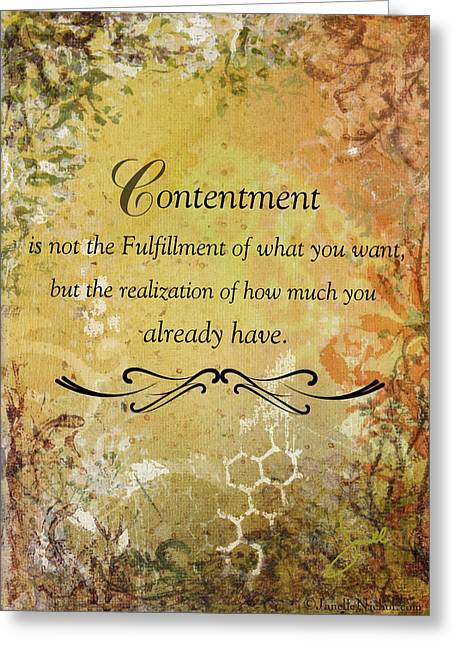 Contentment Inspirational Christian Art Print Greeting Card by Janelle Nichol