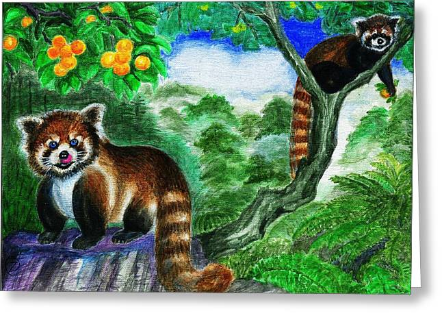 Fed Greeting Cards - Contentment - Red Panda Greeting Card by Zong Yi