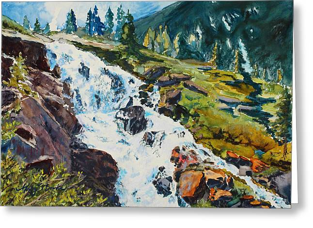 Vibrant Pastels Greeting Cards - Continental Falls Greeting Card by Mary Benke