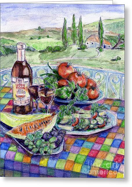 Watermelon Mixed Media Greeting Cards - Continental Picnic Greeting Card by Madeline Moore