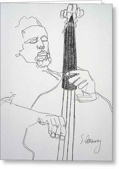 Player Drawings Greeting Cards - Contour Drawing of Charles Mingus Greeting Card by Sharon Attaway