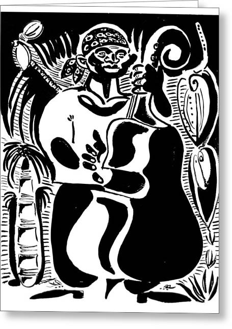 Lino Cut Drawings Greeting Cards - Contrabass Greeting Card by Vadim Vaskovsky