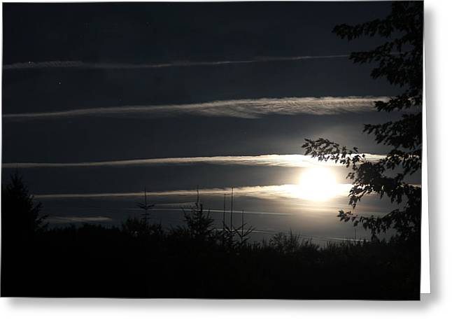 Jet Star Greeting Cards - Contrails Moon and Stars Greeting Card by Katie Wing Vigil