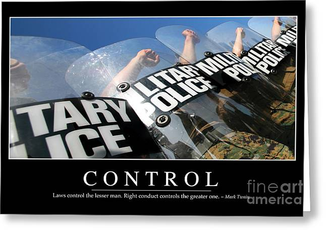 Military Police Greeting Cards - Control Inspirational Quote Greeting Card by Stocktrek Images