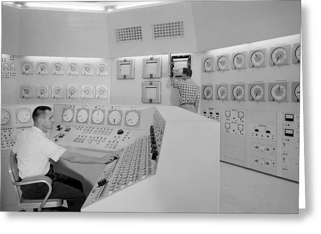 Plum Greeting Cards - Control Room 1959 Greeting Card by Gary Bodnar