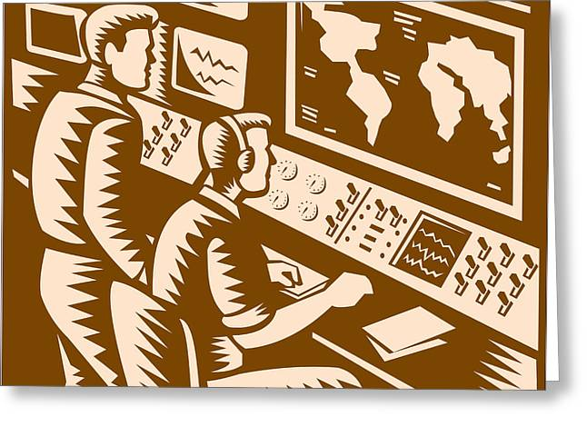 Command Center Greeting Cards - Control Room Command Center Headquarter Woodcut Greeting Card by Aloysius Patrimonio