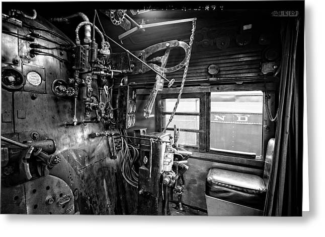 Throttle Greeting Cards - CONTROLS of STEAM LOCOMOTIVE NO. 611 c. 1950 Greeting Card by Daniel Hagerman