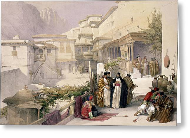 Orthodox Drawings Greeting Cards - Convent Of St. Catherine, Mount Sinai Greeting Card by David Roberts
