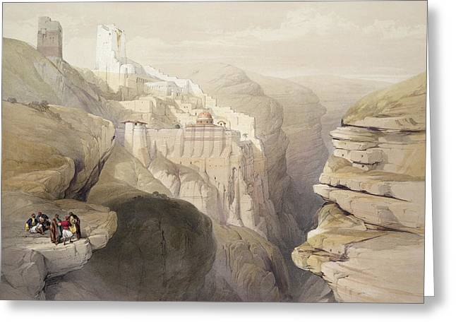 Abyss Greeting Cards - Convent Of St. Saba, April 4th 1839 Greeting Card by David Roberts