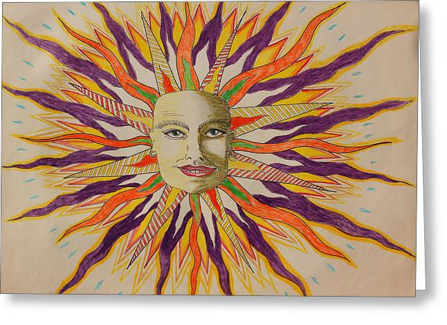Prisma Colored Pencil Drawings Greeting Cards - Conventional Sun Greeting Card by Ru Tover