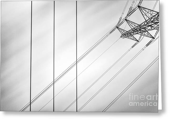 Power Lines Greeting Cards - Convergence Greeting Card by John Farnan