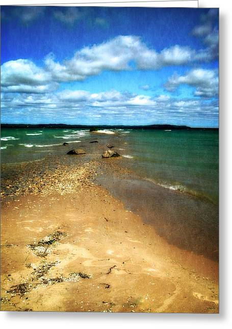 Elk Rapids Greeting Cards - Convergence Greeting Card by Michelle Calkins