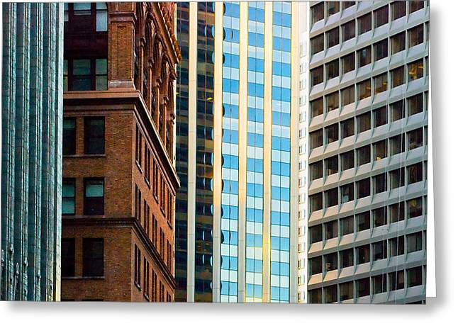 Architecture Sculptures Greeting Cards - Convergence Greeting Card by Mick Burkey