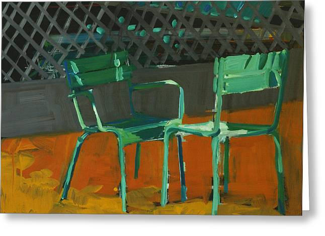 Chairs Greeting Cards - Conversation, 2003 Casein On Painted Paper Greeting Card by Daniel Clarke