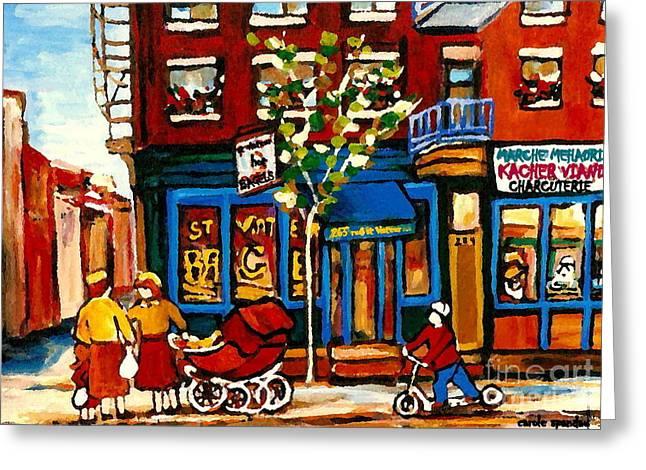 Bagel Shops Greeting Cards - Conversation At St Viateur Bagel Paintings Mehadrin Kosher Deli Authentic Vintage Montreal Cspandau Greeting Card by Carole Spandau