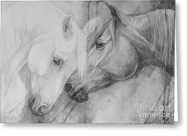 Horse Drawings Greeting Cards - Conversation II Greeting Card by Silvana Gabudean