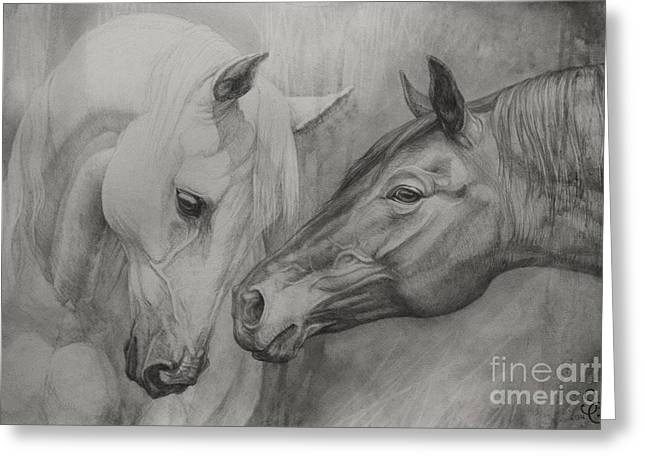 Horse Drawings Greeting Cards - Conversation Ill Greeting Card by Silvana Gabudean