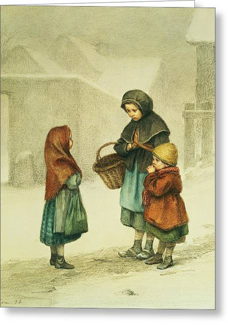 Old Country Roads Paintings Greeting Cards - Conversation in the Snow Greeting Card by Pierre Edouard Frere
