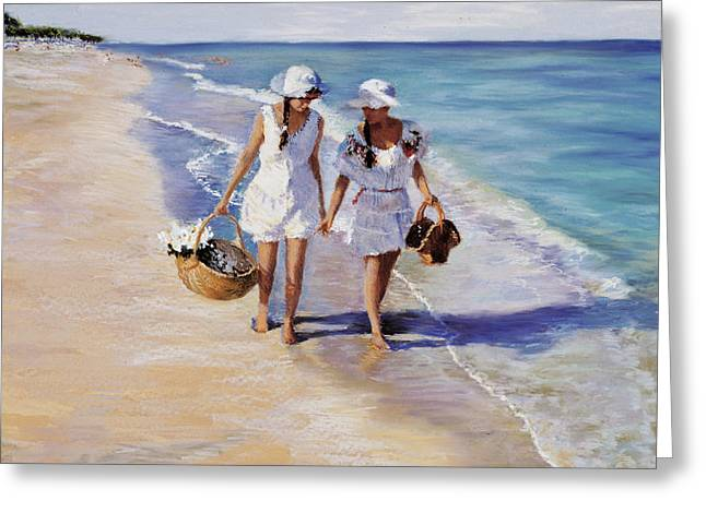 Beach Pastels Greeting Cards - Conversation on the Beach Greeting Card by Susan Kuznitsky