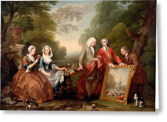 Hogarth Greeting Cards - Conversation Piece. Portrait of Sir Andrew Fountaine with Other Men and Women Greeting Card by William Hogarth