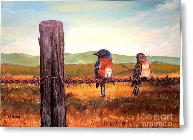 Between The Two Greeting Cards - Conversation with a Fencepost Greeting Card by Kimberlee  Baxter