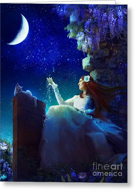 Cat Woman Greeting Cards - Conversation with the Moon Greeting Card by Aimee Stewart