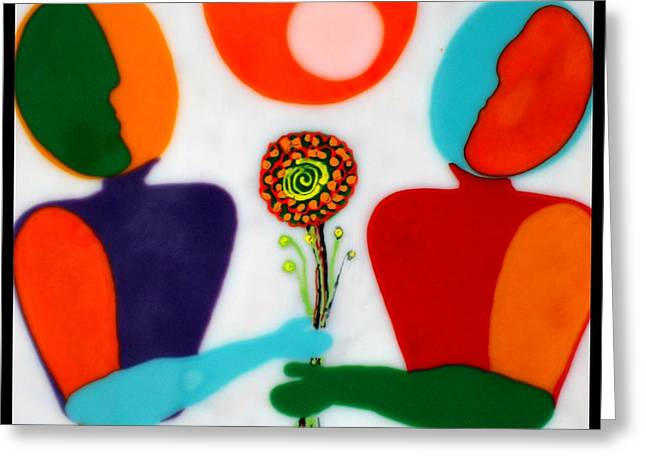 Conversations Glass Art Greeting Cards - Conversations with Picasso  Detail Greeting Card by Mark Lubich
