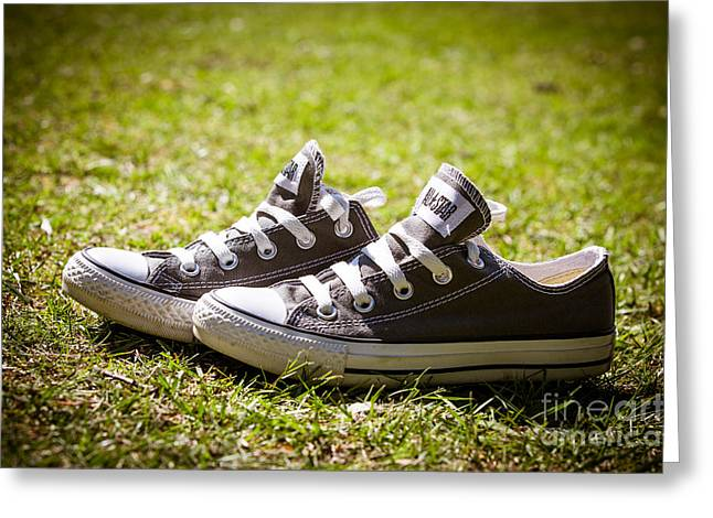 Running Shoe Greeting Cards - Converse pumps Greeting Card by Jane Rix