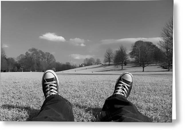 White Sneakers Greeting Cards - Converse Skies Greeting Card by Mountain Dreams