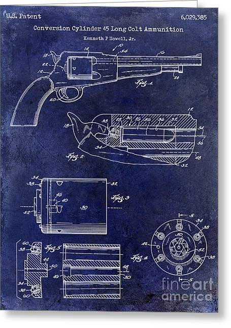 Ammunition Greeting Cards - Conversion Cylinder 45 Long Colt Ammunition Blue Greeting Card by Jon Neidert