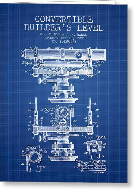 Land Surveyor Greeting Cards - Convertible builders level patent from 1922 -  Blueprint Greeting Card by Aged Pixel